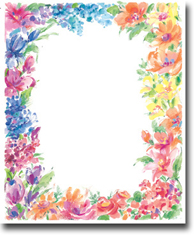 Imprintable Blank Stock - Bright Floral Letterhead by Masterpiece Studios