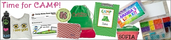 Personalized Items for Camp: Stationery, Address Labels, Clothing and Accessory Labels, Laundry Bags, Pillowcases, Gifts and more!