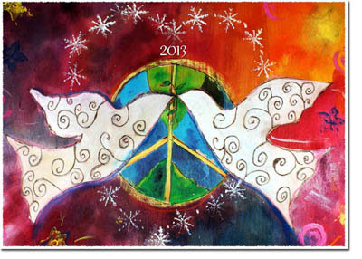 Another Creation by Michele Pulver Holiday Greeting Cards - Winter Doves