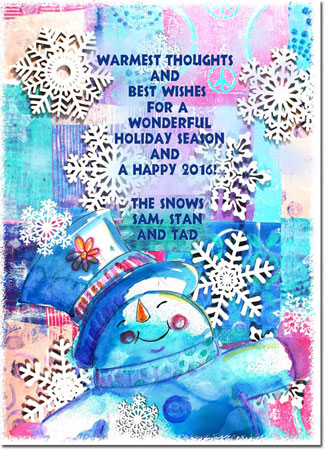 Another Creation by Michele Pulver Holiday Greeting Cards - Monoprint Blizzard