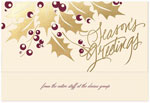 Checkerboard Corporate Holiday Greeting Cards - Holly Shine (HLC-BMQ-J)