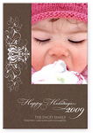 Checkerboard Holiday Photo Card - Sterling And Chocolate (HLP-DEE-E)