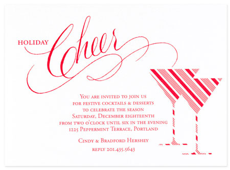 Checkerboard Holiday Invitations - Holiday Toast (HLG-HPN-T)