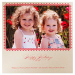 Checkerboard Holiday Photo Cards - Red Filigree  (HLG-CHC-V)