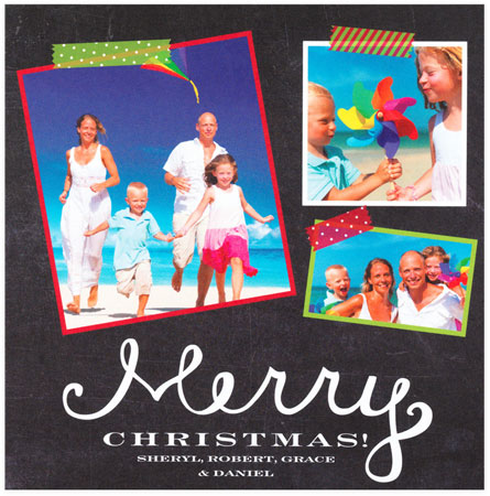 Checkerboard Digital Holiday Photo Cards - Chalk & Tape (HLG-JQP-Y)