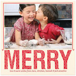 Checkerboard Holiday Photo Cards - Fanciful Merry (HLG-XLX-P)