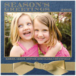 Checkerboard Holiday Photo Cards - Wrapped in Gold (Season's Greetings) (HLG-MJG-L)