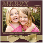 Checkerboard Holiday Photo Cards - Wrapped in Gold (Merry Christmas) (HLG-NHU-Y)