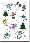 Paper People Holiday Cards - Kids in the Snow (IF11036)