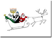 Paper People Holiday Cards - Santa And Rabbi in Sleigh (IF11038)