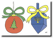 Paper People Holiday Cards - Christmas Ball/Dreidel