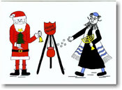 Paper People Holiday Cards - Santa and Rabbi Tossing Coins (IF06701)