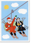 Paper People Holiday Cards - Santa And Rabbi On Ski Lift (IF07701)