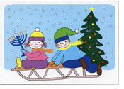 Paper People Holiday Cards - Kids On Sled (IF07704)