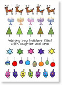 Paper People Holiday Cards - Reindeer And Menorahs (IF08833)