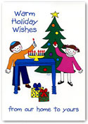 Paper People Holiday Cards - Kids With Menorah And Tree (IF09946)