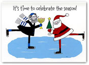 Paper People Holiday Cards - Santa And Rabbi Skaters (IF09947)