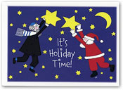Paper People Holiday Cards - Santa And Rabbi With Stars (IF09948)