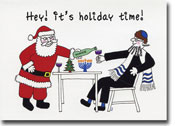 Paper People Holiday Cards - Santa And Rabbi With Wine (IF10601)