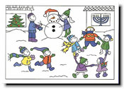 Paper People Holiday Cards - Kids Playing in Snow