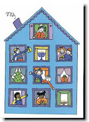 Paper People Holiday Cards - Kids In Windows