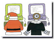 Paper People Holiday Cards - Santa & Rabbi At Computer