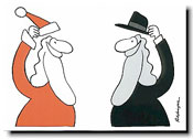 Paper People Holiday Cards - Santa & Rabbi Tipping Hats