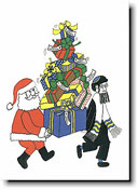 Paper People Holiday Cards - Santa & Rabbi With Presents