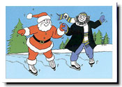 Paper People Holiday Cards - Santa & Rabbi Skaters
