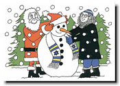 Paper People Holiday Cards - Santa & Rabbi With Snowman