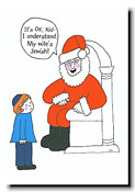 Paper People Holiday Cards - Santa With Little Boy