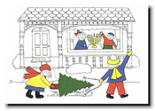 Paper People Holiday Cards - Tree On Sled