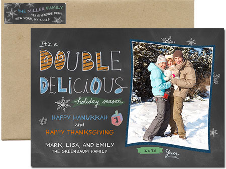 Digital Holiday Photo Cards - Double Delicious Hanukkah (#H15)
