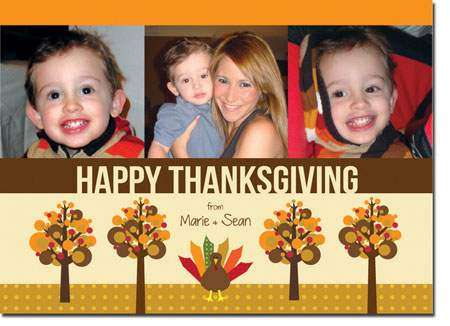 Spark & Spark Holiday Greeting Cards - Turkey And Trees (Photo Cards)