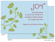 Take Note Designs Digital Holiday Invitations/Greeting Cards - Green Vine and Berry on Blue (TND-A-97728)