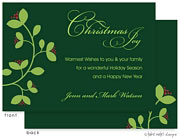 Take Note Designs Digital Holiday Invitations/Greeting Cards - Green Vine and Berry on Green (TND-A-97729)