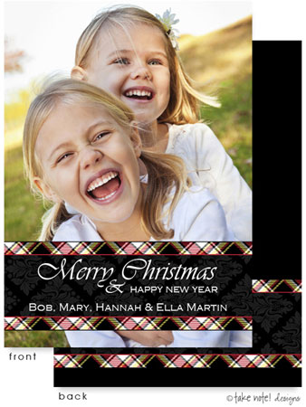 Take Note Designs Digital Holiday Photo Cards - Plaid Damask Wrap