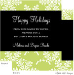 Take Note Designs Digital Holiday Invitations/Greeting Cards - Green Snowflake Black Wrap (TND-A2-97421)