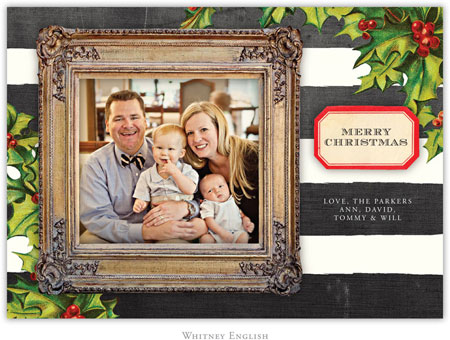 Whitney English Digital Holiday Photo Card - Framed Holly (W23618)