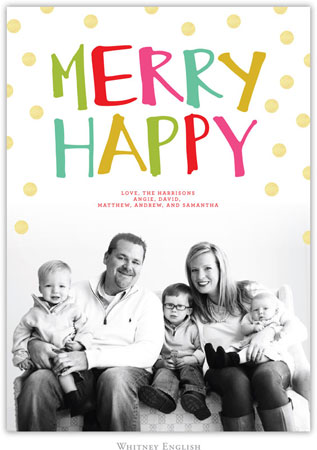 Whitney English Digital Holiday Photo Card - Merry Happy (W23639)