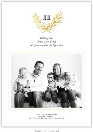 Whitney English Digital Holiday Photo Card - Holly Gold (W23640)