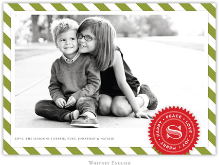 Whitney English Digital Holiday Photo Card - Air Mail Olive (W23646)