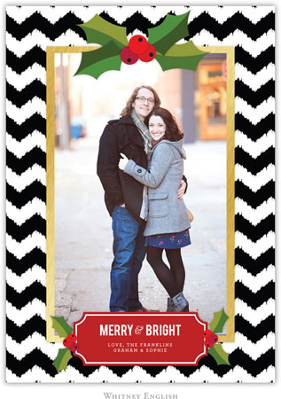 Whitney English Digital Holiday Photo Card - Holly Chevron Black (W23656)