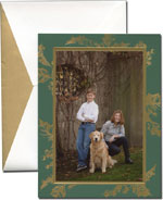William Arthur Holiday Photo Cards - Etched Holly on Forest Green (#29-98715)