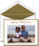 William Arthur Holiday Photo Cards - Holiday Wishes Gold Bordered 2014 (29-106451)