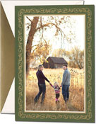 William Arthur Holiday Photo Mount Cards - Gold Holly On Woodland (#29-106631)