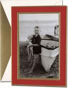 William Arthur Holiday Photo Cards - Gold Border on Scarlet (#29-106668)