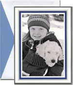 William Arthur Holiday Photo Mount Cards - Azure Blue Beaded Border (#29-106693)