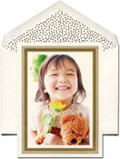 William Arthur Holiday Photo Mount Cards - Gold Beaded Border
