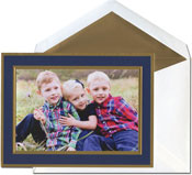 William Arthur Holiday Photo Mount Cards - Navy And Gold